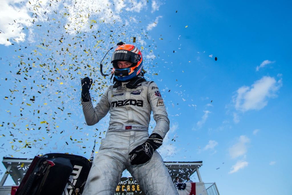 Harry Tincknell celebrates a race win in 2019